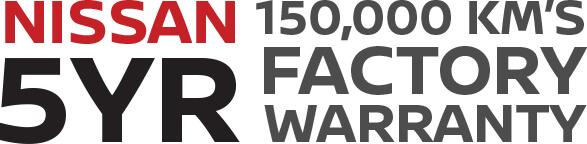 Nissan 5YR 150,000 km's factory warranty